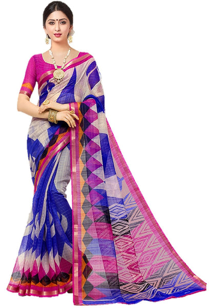 Printed Chanderi Saree With Zari Border Blouse Piece For Women
