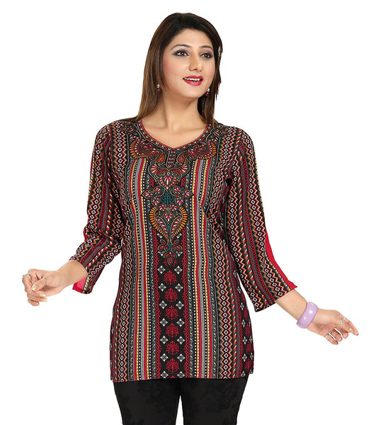 Designer Short Kurtis Multicolor Short Kurtis Kurta With Digital Print Work K24