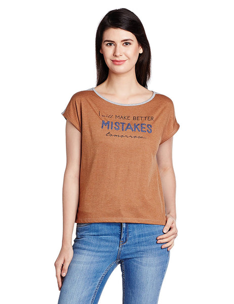 Online Girls s T-Shirt Brown Color Printed Daily Wear T-Shirt For Girls Ladyindia31