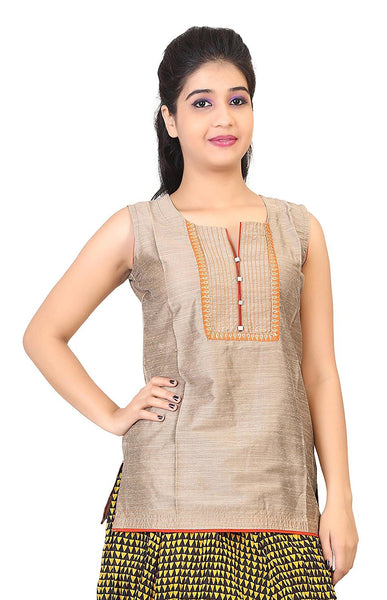 Short Designer Kurti Kurtas Blue Color Cotton Silk Kurtis For Girl K41