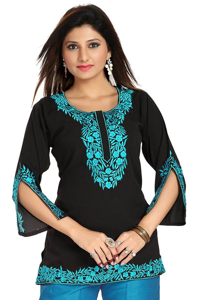 Designer Black-Blue Embroidered Women Short Kurti