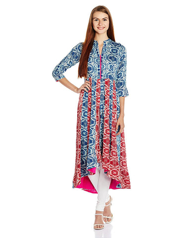 Designer Asymmetric Kurta With Leggings - Designer Kurtis
