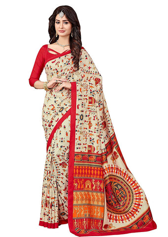 Multicolor Bhagalpuri Art Silk Saree With Unstitched Blouse Piece For Women