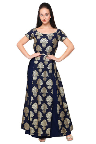 Designer Blue Color Crepe Long Skirt With Long Kurti High Slit Kurti With Gold Foil Print