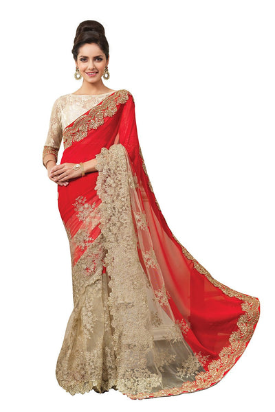 Designer Red Partywear Bridal Wedding Sarees With Heavy Embroidery Work And Border Work