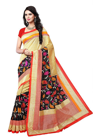 Floral Print & Border Work Cotton Mix Silk Sarees S100