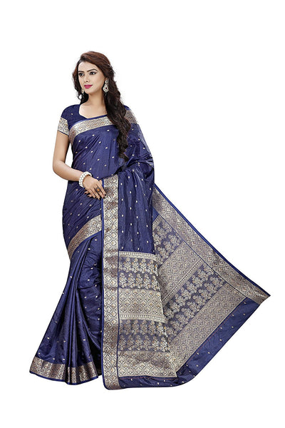 Navy Blue Printed Silk Sarees With Zari Thread Border Bhagalpuri Art Silk Saree
