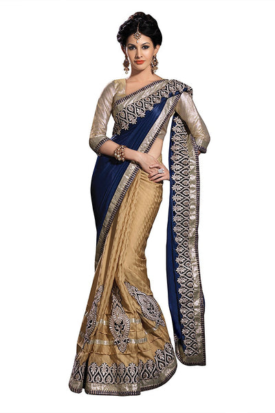 Designer Partywear Blue & Beige Bridal /Wedding Embelished Saree Wear Embroidery Work Half and Half Sari With Blouse