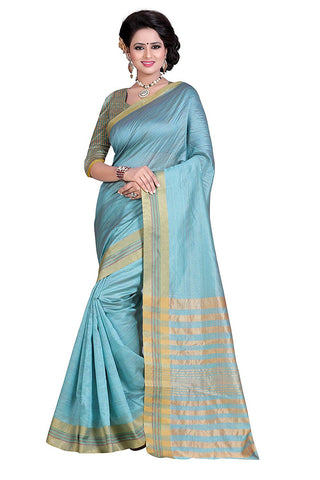 Beautiful Cotton Sari With Golden Lines Border S003