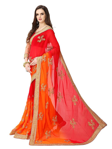 Designer Bridal Red & Orange Color Georgette Heavy Embroidered Saree Wedding Sarees