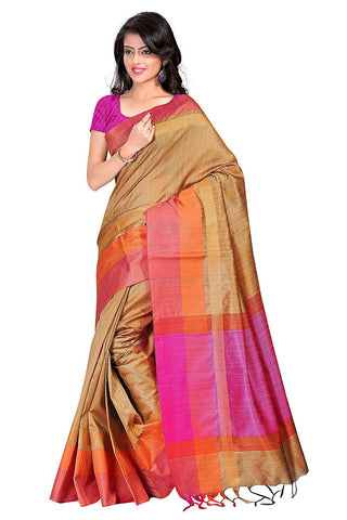 Multicolor Handcrafted Printed Tussar Silk Sarees S036