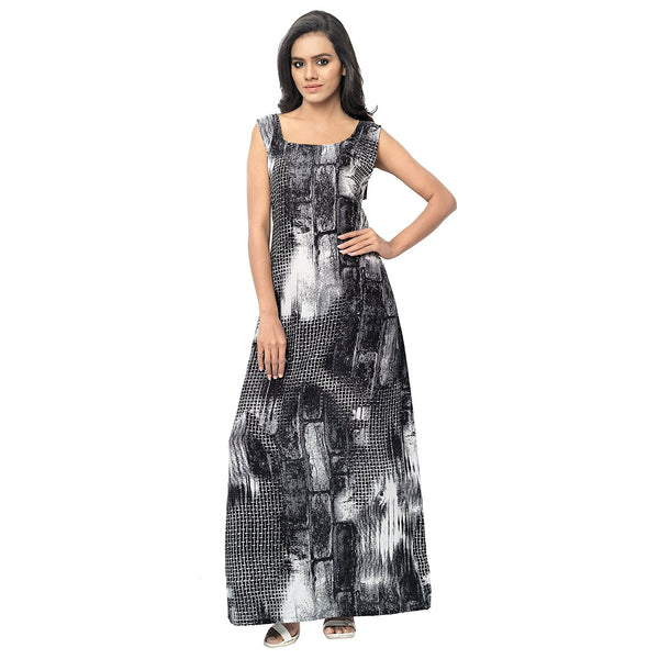 Latest Designer Blank & White Printed Maxi Dress For Women