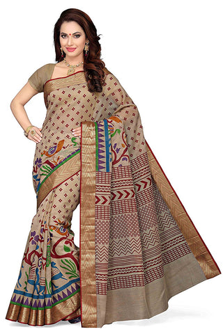 Cotton Saree Red & Beige Color Hand Printed Saree S071