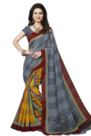 Bhagalpuri Silk Saree With Designer Blouse Multicolored Check Print Silk Saree