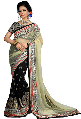 Designer Black & Cream Net Designer Fancy Half n Half  Net Saree For Women