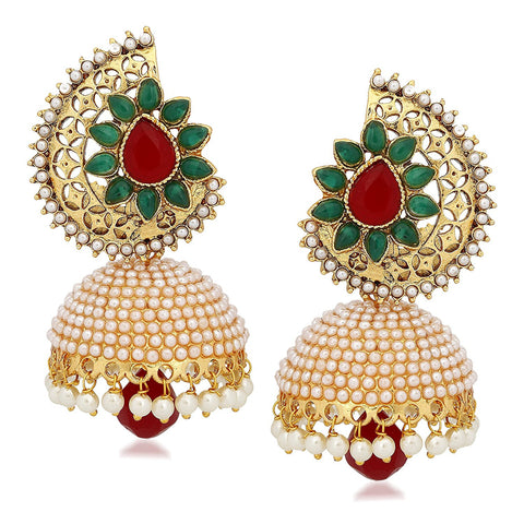 Designer Kundan Jewellery Pearl Jhumki Earrings For Women Ear Rings For Girls In Traditional Ethnic Gold Plated J136
