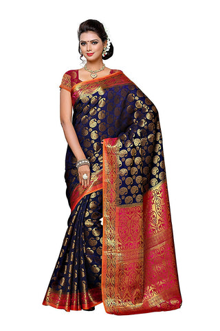 Designer Blue Color Banarasi Silk Saree With Golden Printed Work S040