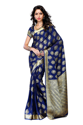 Casual Wear Royal Blue Crepe Sarees Paisely Design Sarees For Women