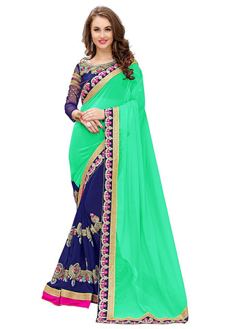 fs-27-diwali-sale-party-wear-half-&-half-style-blue-&-green-designer-georgette-sarees