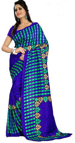 Sarees Women Checks Art Silk Printed Saree