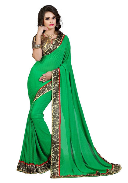 Light Green Chiffon Printed Saree With Blouse