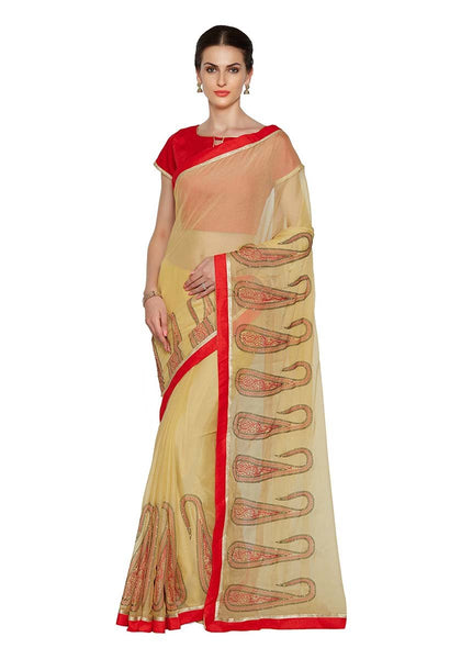 Beige Color Chiffon Sarees With Ethnic Print And Lace Border Work