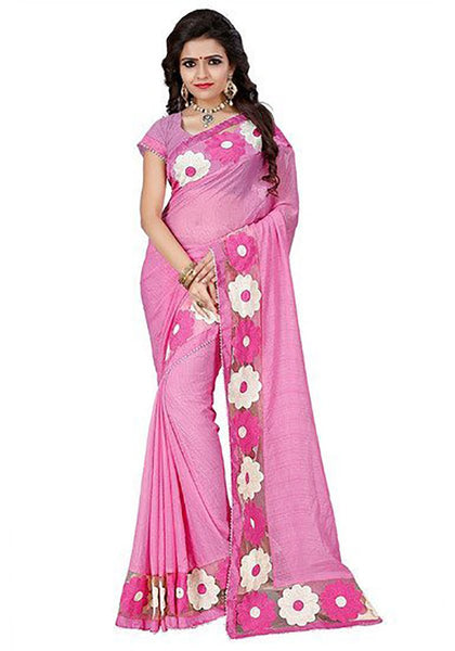 Pink Chiffon Sarees With Floral Border Work