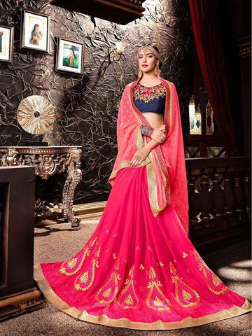 Designer Sarees Georgette Pink Colored Embroidered Saree For Women