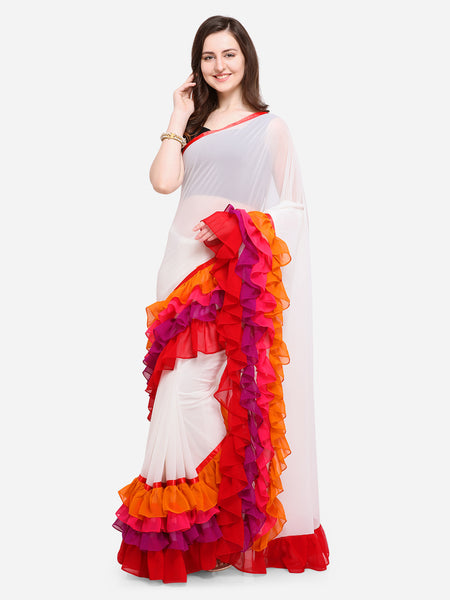 Women's Sarees Off-White Plain Poly Georgette Ruffle Saree