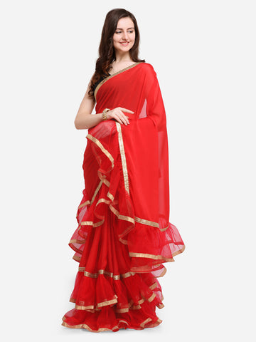 Women Red Solid Poly Crepe Ruffle Saree