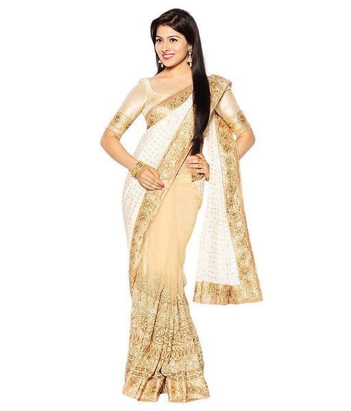 Designer Net Sarees Beige & White Color Heavy Embroidery, Stone & Lace Border Work Net Saree For Women