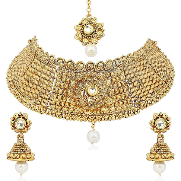 Gold Plated Choker Necklace With Drop Earring & Mangtika For Women/Girls