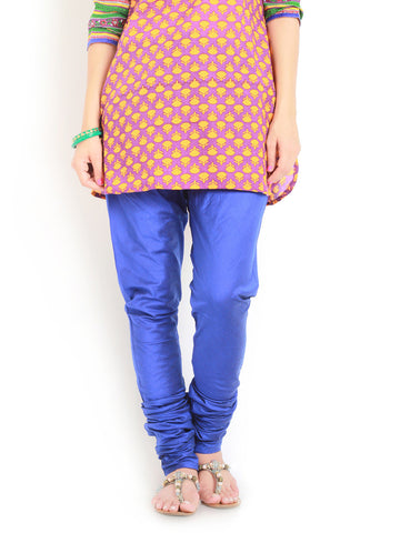 Latest Plain Leggings Churidar Blue Color Womens Churidar Leggings LS87