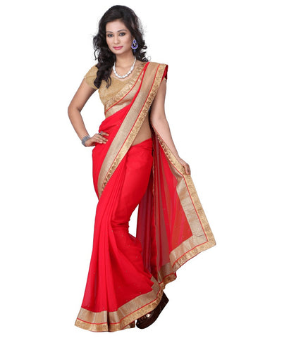 Ethnic Hot Red Chiffon Designer Sari With Broad Border Holi Special Saree Collection
