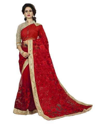 Bridal Red Color Net Saree With Heavy Embroidery & Golden Lace Border Designer Net Sarees