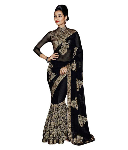 Party Wear Black Georgette Saree Embroidered Saree Wedding Saree With Blouse