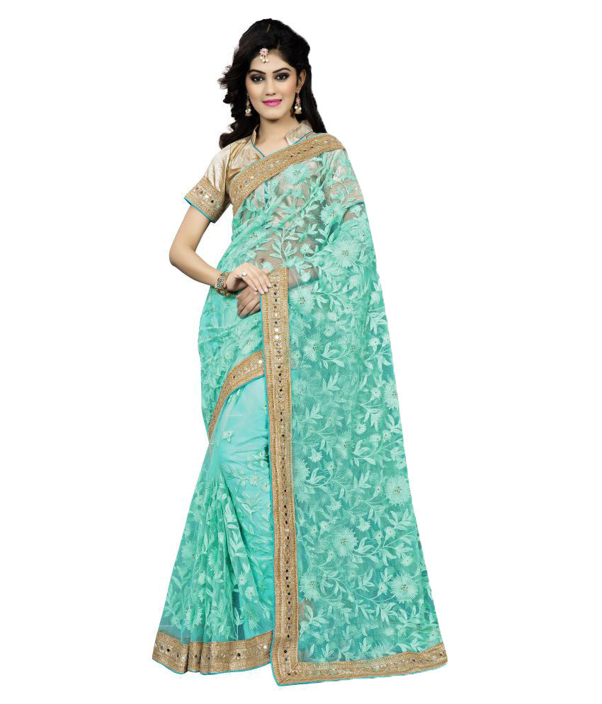 328173abc0c Shop Online Turquoise Color Net Saree Designed With Floral Embroidery   Golden  Lace Work – Lady India