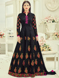 Anarkali Suit with Dupatta - Black Semi Stitched Embroidered Suit
