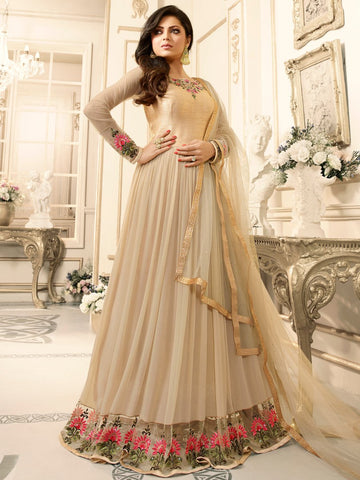 Anarkali Suit with Dupatta - Light Brown Semi Stitched Embroidered Suit