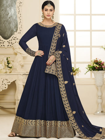 Anarkali Suit with Dupatta - Navy Blue Semi Stitched Embroidered Suit