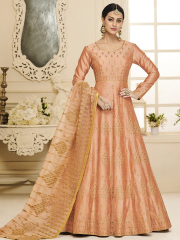 Anarkali Suit with Dupatta - Peach Semi Stitched Embroidered Anarkali Suit