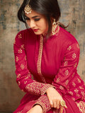 Anarkali Suit with Dupatta - Red Semi Stitched Embroidered Suit