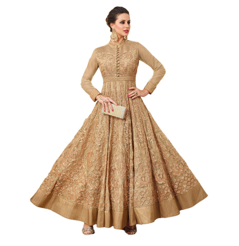 Anarkali Suits Beige Color Gown Style Net Zari Embroidery With Sequence Work Suit