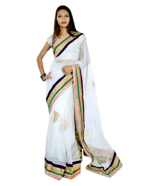 White Color Net Saree Patch & Lace Border Work Designer Net Sarees