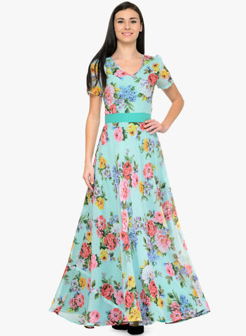 Multicolored Floral Printed Maxi Dress Flare Dresses V-Neck Short Sleeves Dress