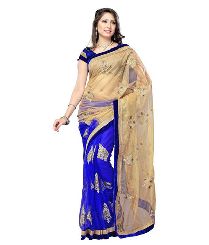 Blue & Golden Net Saree With Embroidery & Patch Work Designer Net Sarees