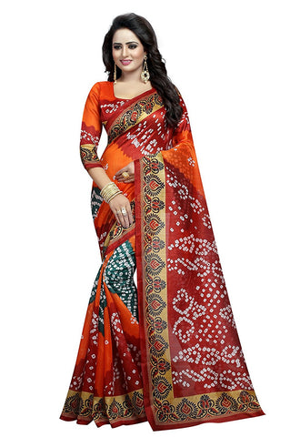 Art Silk Sarees Online Multicolor Bandhani Print Designer Art Silk Sarees For Women