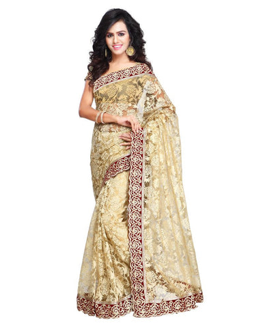 Beige Color Net Saree Digital Print & Lace Border Work Designer Net Sarees