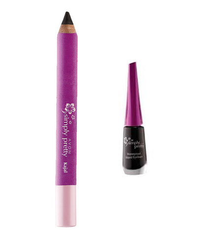 Avon New York Blackest Black Kajal with Black Liquid Eyeliner Branded Beauty Products Online