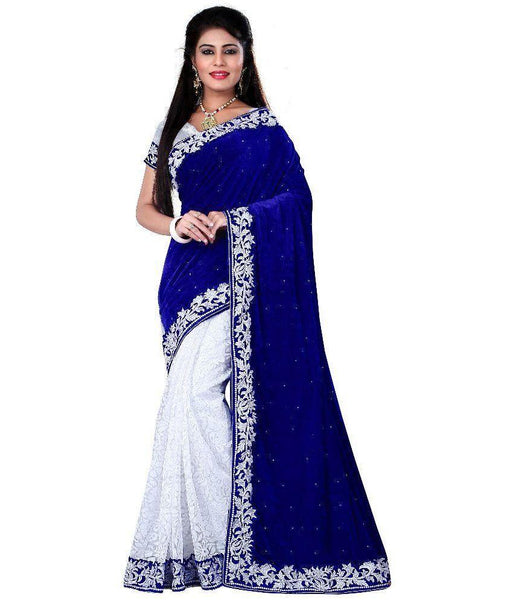 Blue & White Velvet Saree With Stone And Embroidered Work Net Saree